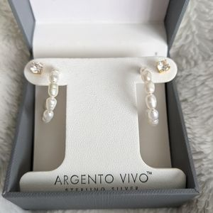 Argento Vivo Earring Set Freshwater Pearl Hoops